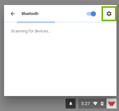 screenshot of bluetooth settings with settings gear highlighted