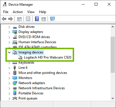 Windows 10 device manager showing Imaging devices.