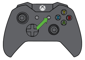 Menu button pointed out on Xbox controller.