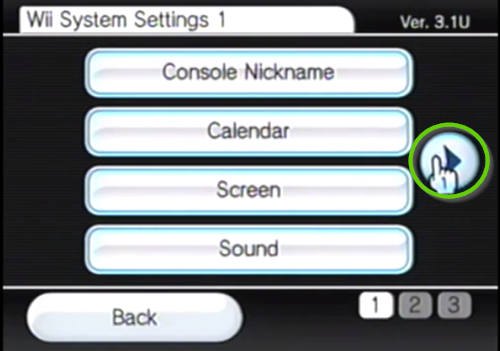 Nintendo wii blue button for second page