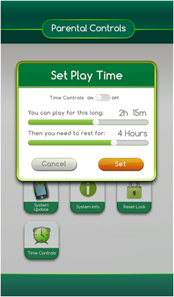 Screenshot of the LeapPad Ultimate's parental controls menu displaying the set play time settings.