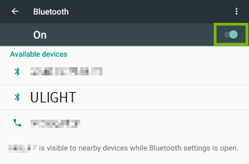 Bluetooth Toggle On