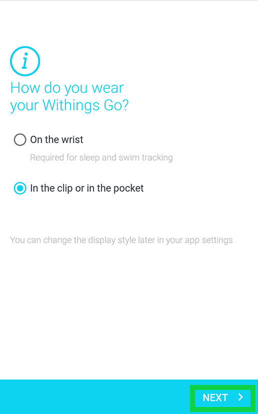 how do you wear withings go with with next highlihted