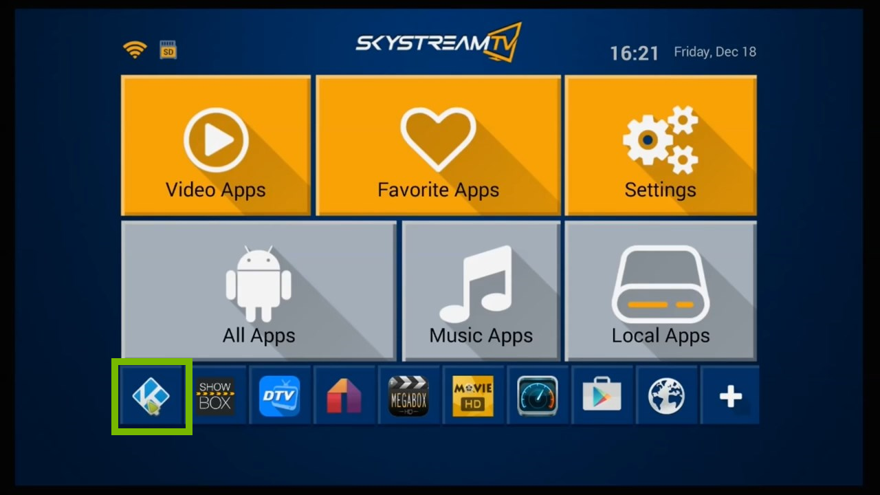 Main Menu with the Kodi app highlighted.