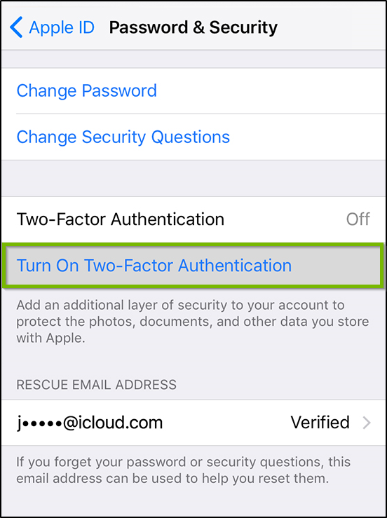 Password and security settings. Turn on two factor authentication highlighted.