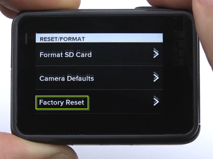 Preferences screen with Factory Reset button selected.
