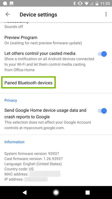 Device settings screen in mobile app