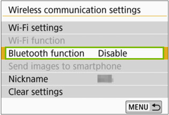 Wireless communication settings with the Bluetooth function highlighted
