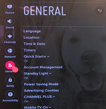 General settings screen.