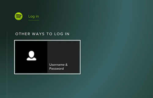 Log in screen with username and password option