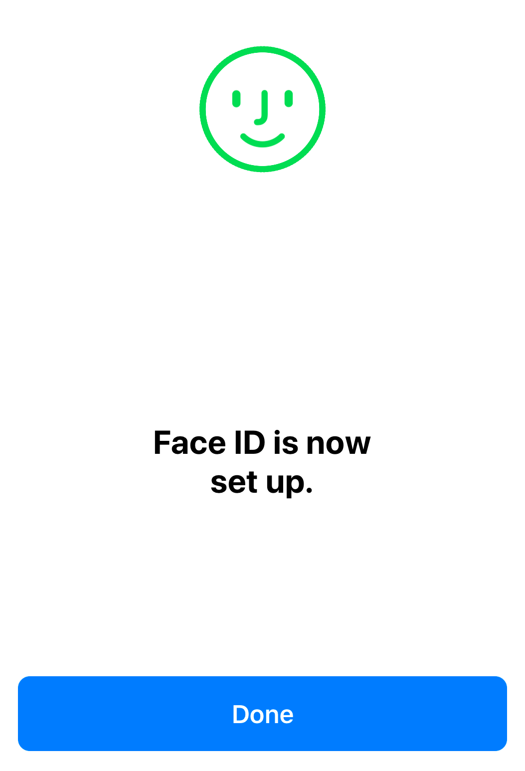Face ID setup complete screen displaying a done button.