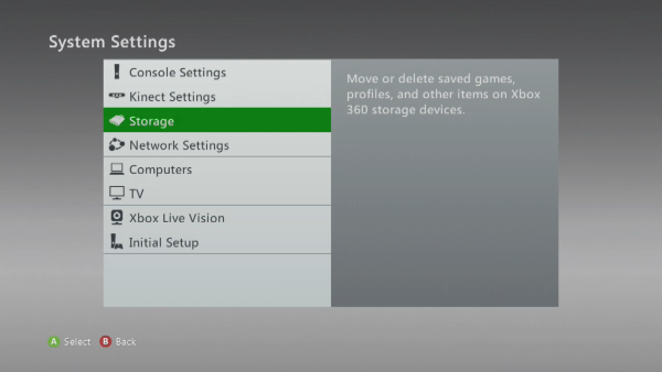 Storage option selected in Xbox 360 settings.