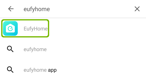 Play Store search with EufyHome highlighted.