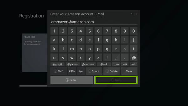 Email entry screen for Fire TV registration.