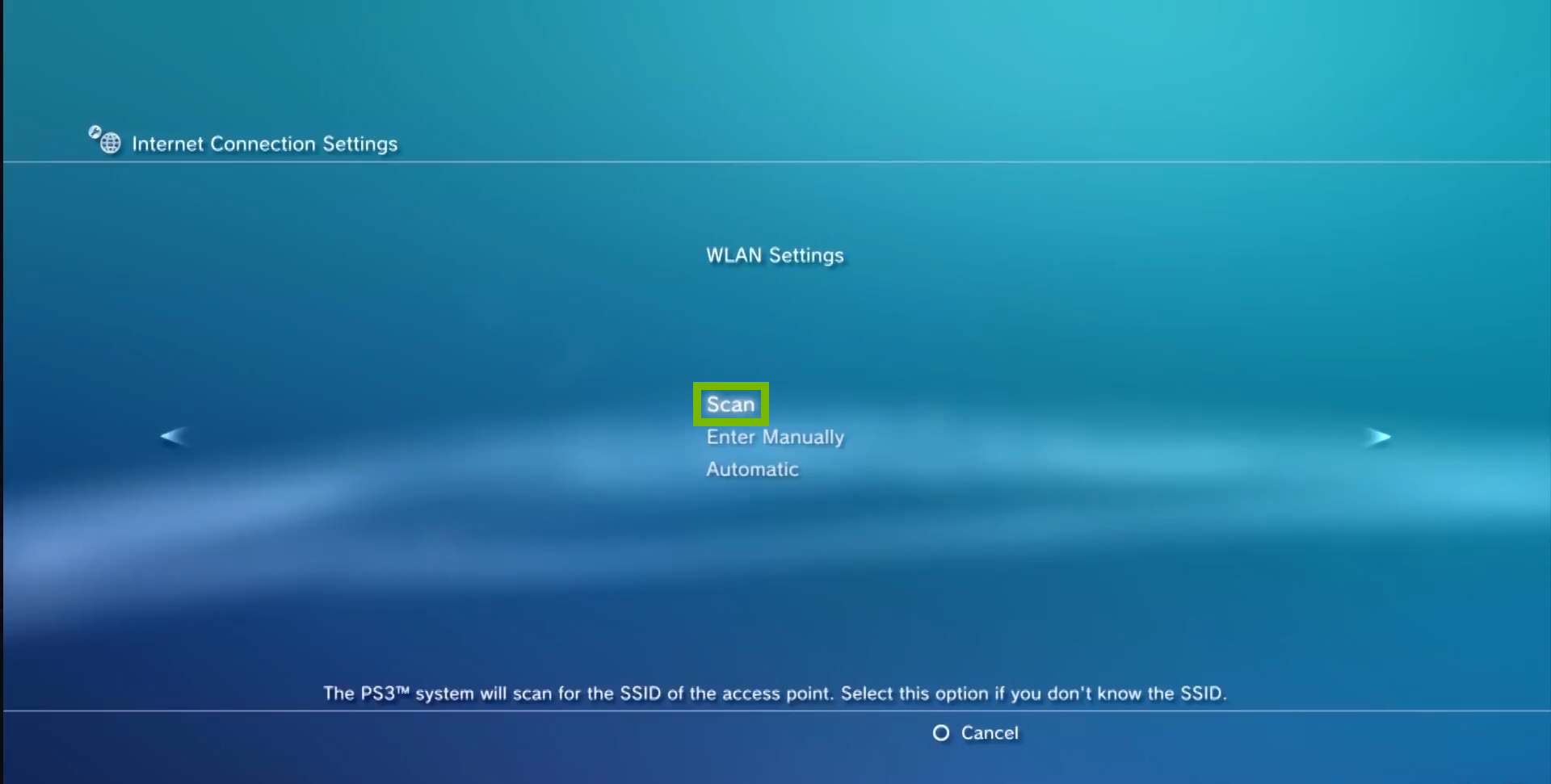 WLAN Settings with Scan option selected. Screenshot.