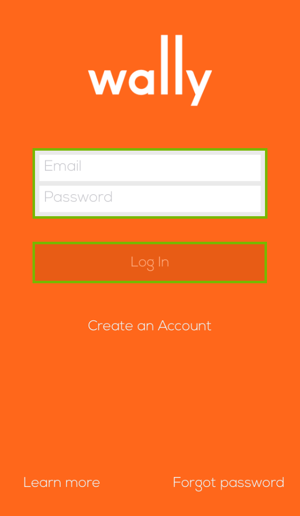 Wally login page