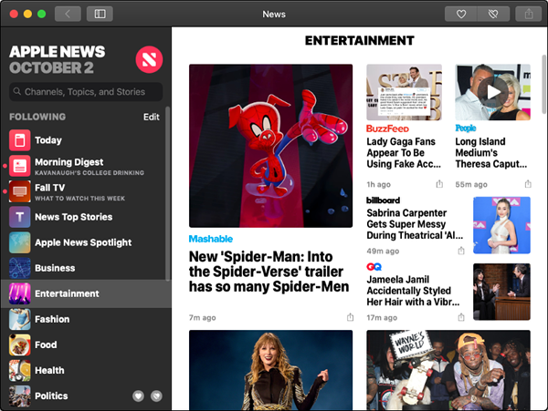 Apple News showing Entertainment news.