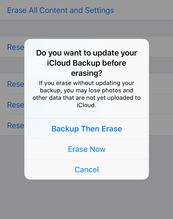 iOS Erase all content and settings confirmation prompt.