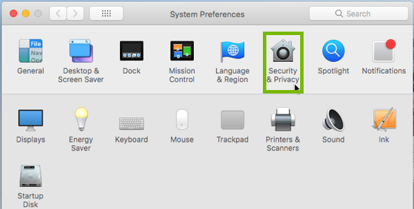 System preferences with Security and Privacy highlighted. Screenshot