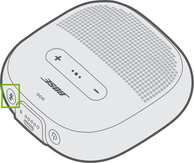 Diagram of speaker with bluetooth button highlighted.