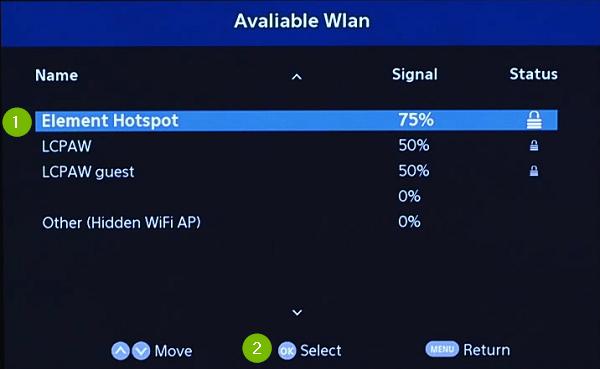 Wi-Fi Networks. Screenshot