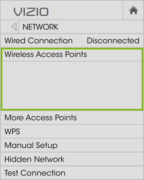 WiFi network list highlighted in VIZIO TV network settings on VIA Plus platform.