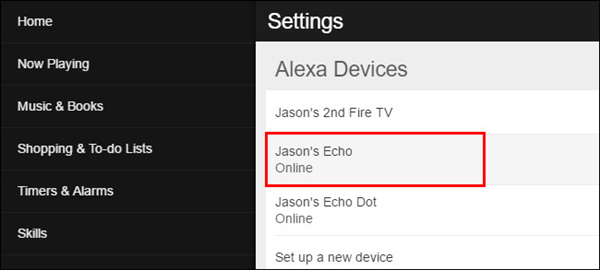 Settings screen with example Alexa device selected. Screenshot.