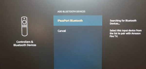 Add Bluetooth Devices menu with an example device selected in the list. Screenshot.