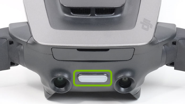 Function button highlighted on rear of Mavic Air.
