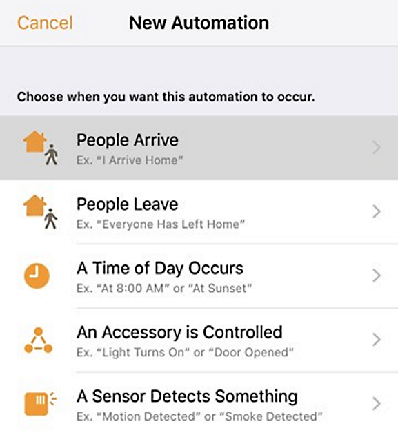 New automation selection screen in Apple Home app.