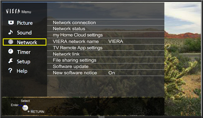 Network option highlighted in menu