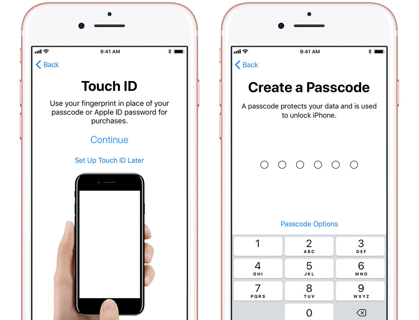 Touch ID and Screen Lock passcode setup screens.
