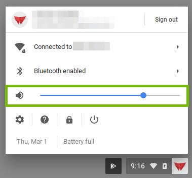 User menu with volume slider highlighted