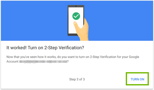 2-Step verification ready, with Turn On highlighted.