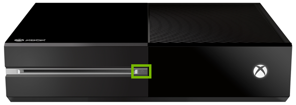 Eject button highlighted on front panel of Xbox One original.