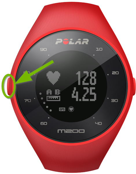 Polar M200 watch highlighting the left button.