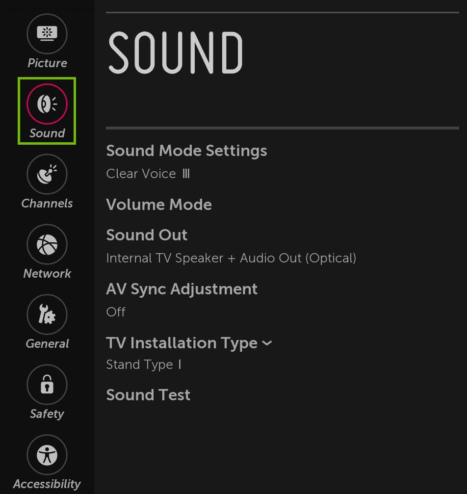Sound Menu highlighted.
