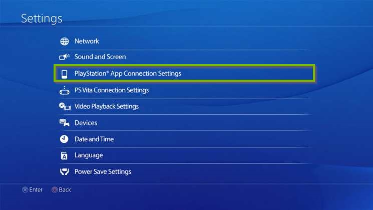 PS4 Settings screen with PlayStation App Connection Settings selected. Screenshot.