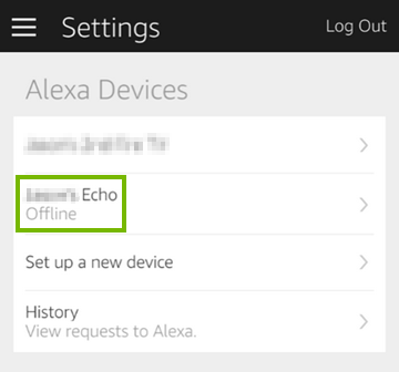 Alexa devices showing on Settings screen in mobile app