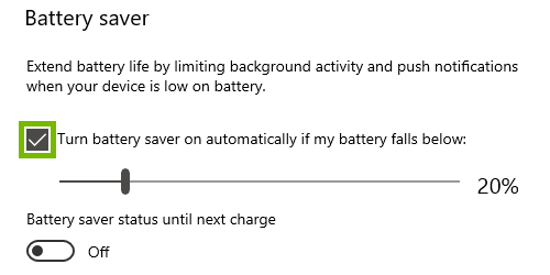 Turn Battery Saver on automatically