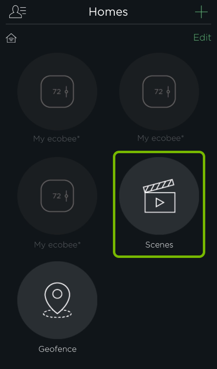 Scenes button highlighted in HomeKit settings of ecobee app.