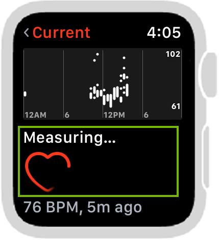 Heart Rate app measuring. Screenshot