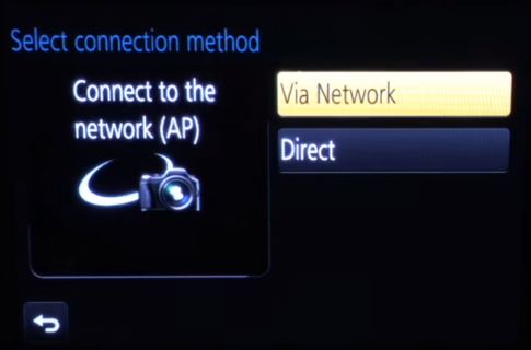 Camera Wi-Fi setup method selection screen