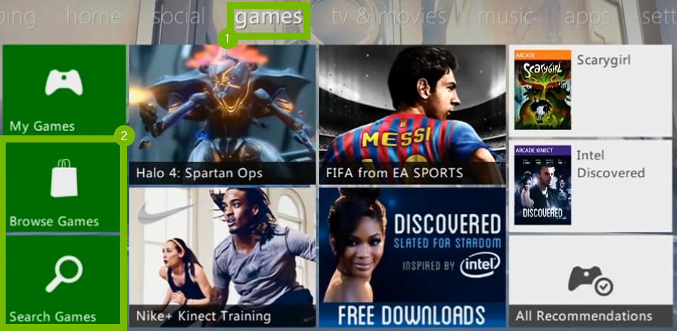Games menu with Browse Games and Search Games highlighted. Screenshot.