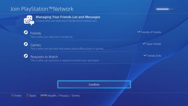 PlayStation Network friend management screen.