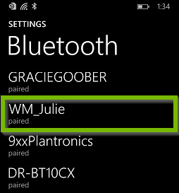 Bluetooth device paired with phone. Screenshot.