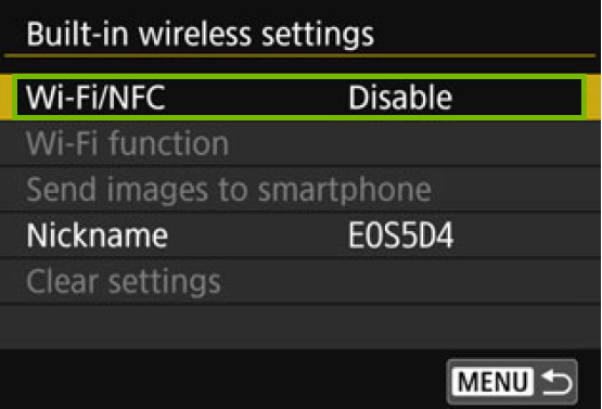 menu with Wi-Fi N F C highlighted