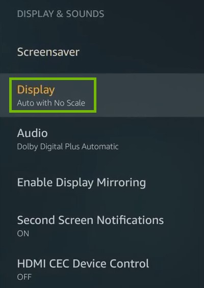 Display and Sounds Settings with Display highlighted.