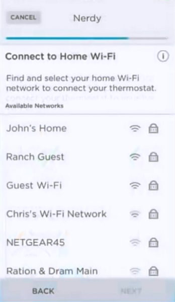 Wi-Fi network selection screen.