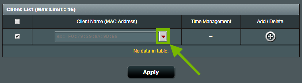 Drop down arrow highlighted on Parental Controls screen of ASUS router web interface.